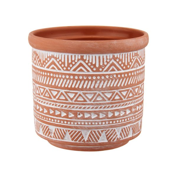 Aztec Terracotta Pot on White Background