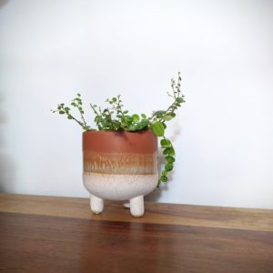 Little Orange Stoneware Pot on Legs
