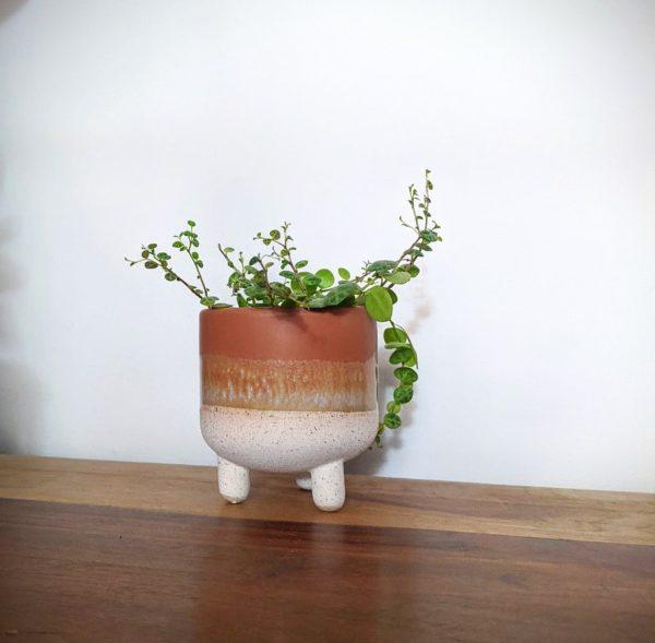 Little Orange Stoneware Pot on Legs