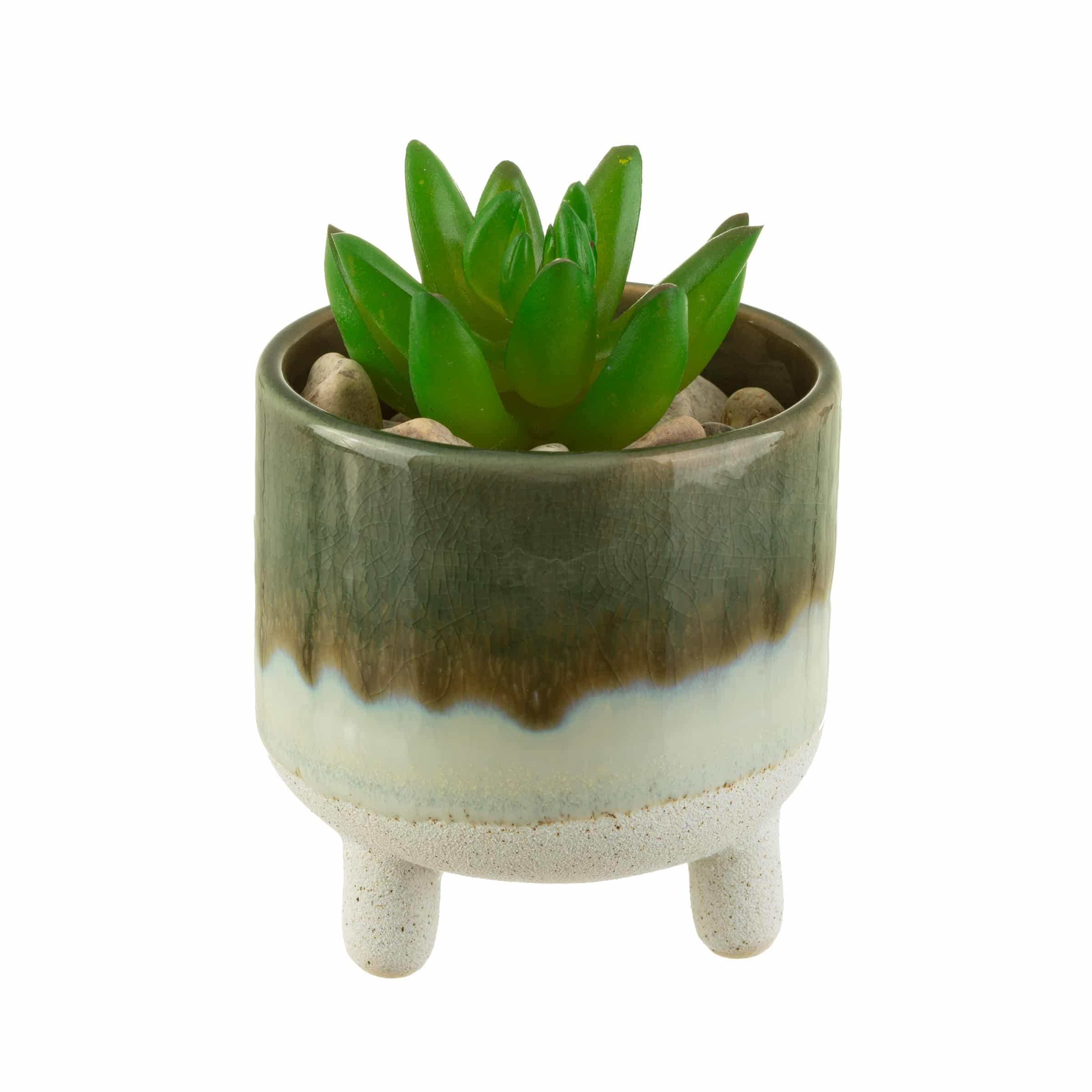 Bohemian green planter with plant