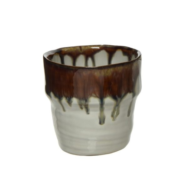 Brown and Cream Mini Glazed Pot for Succulent
