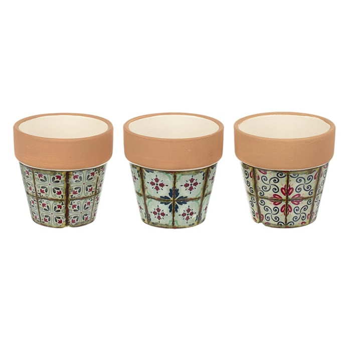 Chic Antique Tiny Terracotta Trio Pots