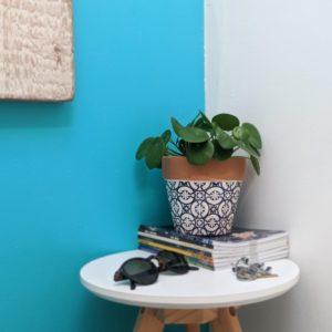 Floral Themed Blue Terracotta Planter