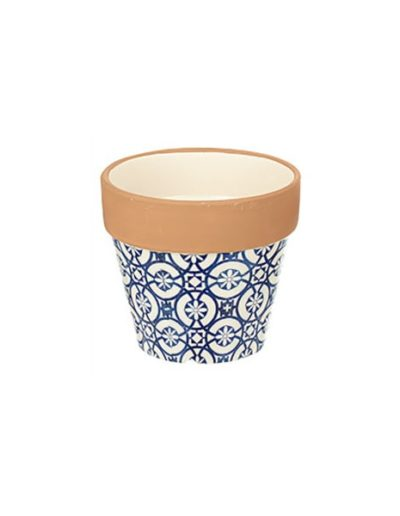 Floral Themed Blue Terracotta Planter