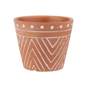 Geometric Style Terracotta Pot