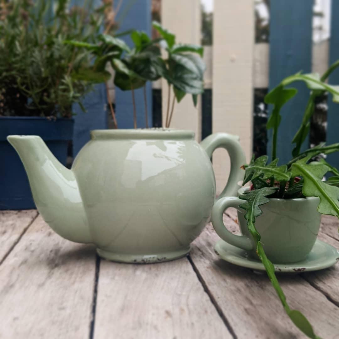 Green teapot & teacup set