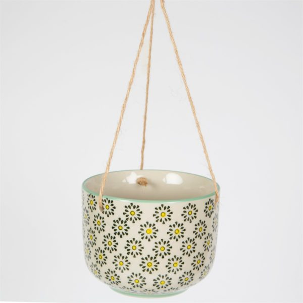 White Background Hanging Botanical Burst Pot