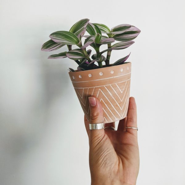 Geometric Style Terracotta Pot