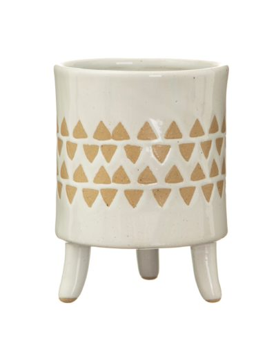 Leggy Geometric Print Pot White Background