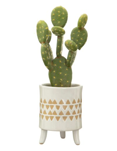 Leggy Geometric Print Pot With Plant