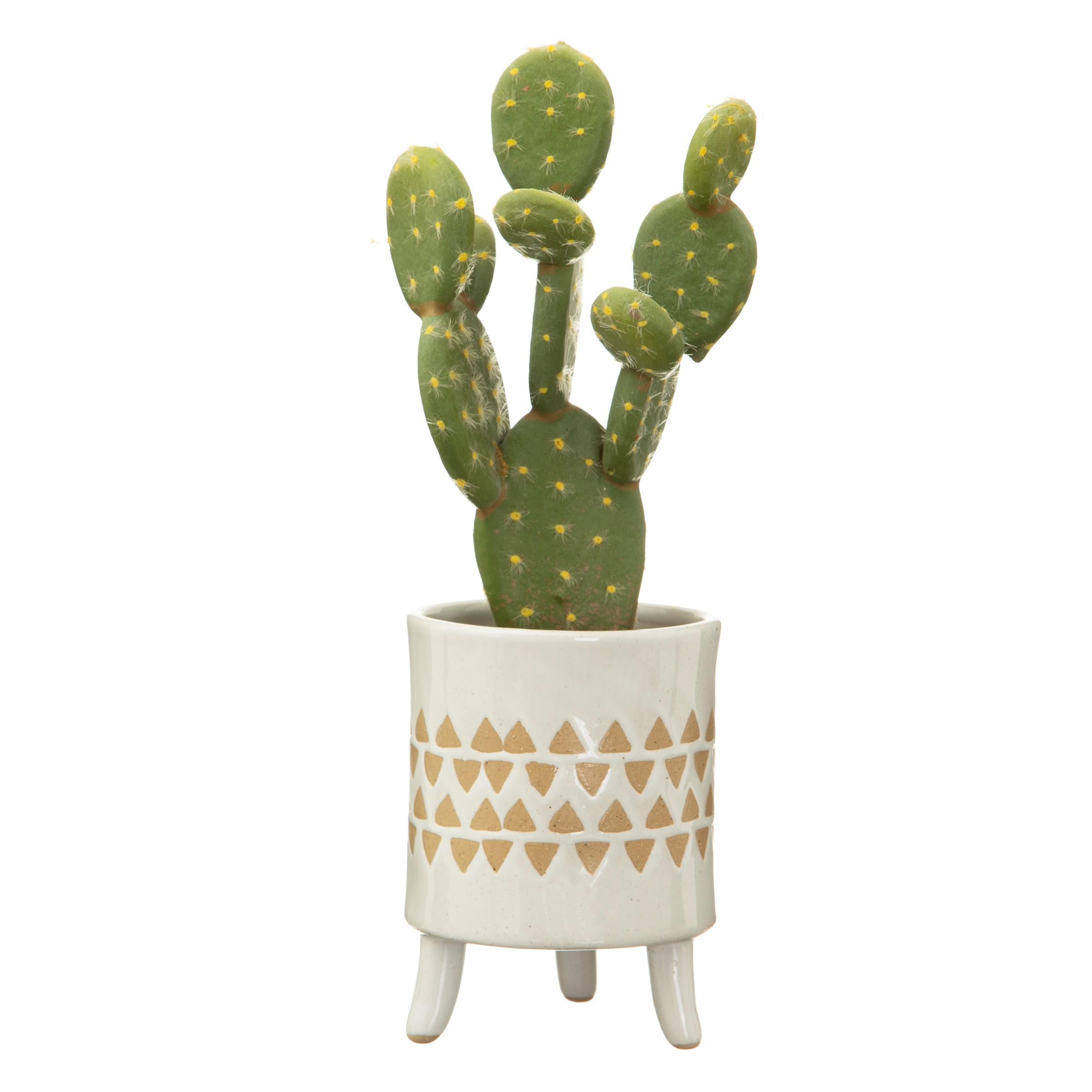 Leggy Geometric Print Pot With Plant