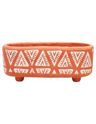 Mini Aztec Terracotta Planter Box White Background