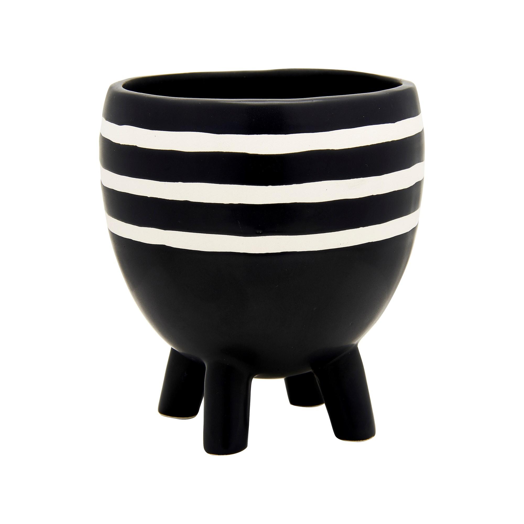 Monochrome Striped Pot
