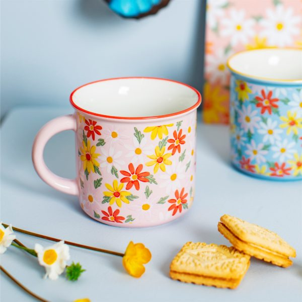 Pink & Blue Daisy Mugs