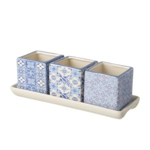 Square Pot Trio - Blue Pattern