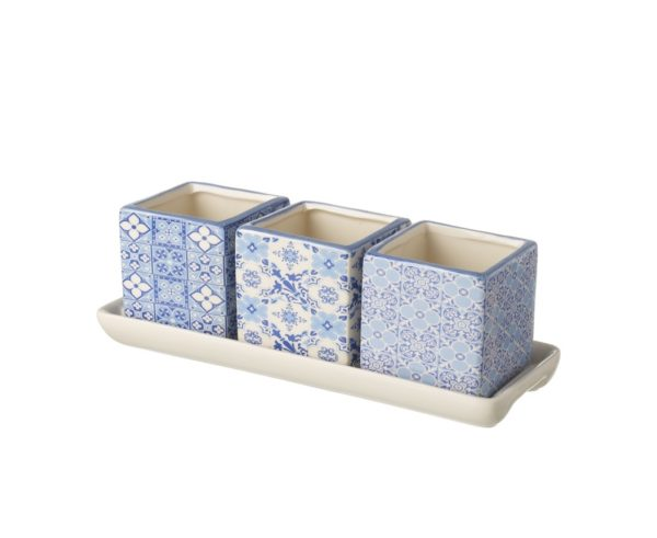 Square Pot Trio - Blue Pattern