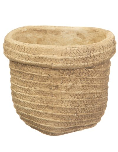 Woven Look Basket Style Planter White Background2