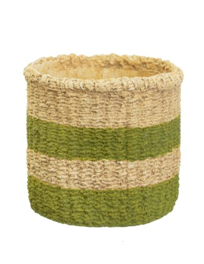 Woven Look Green Stripe Basket White Background