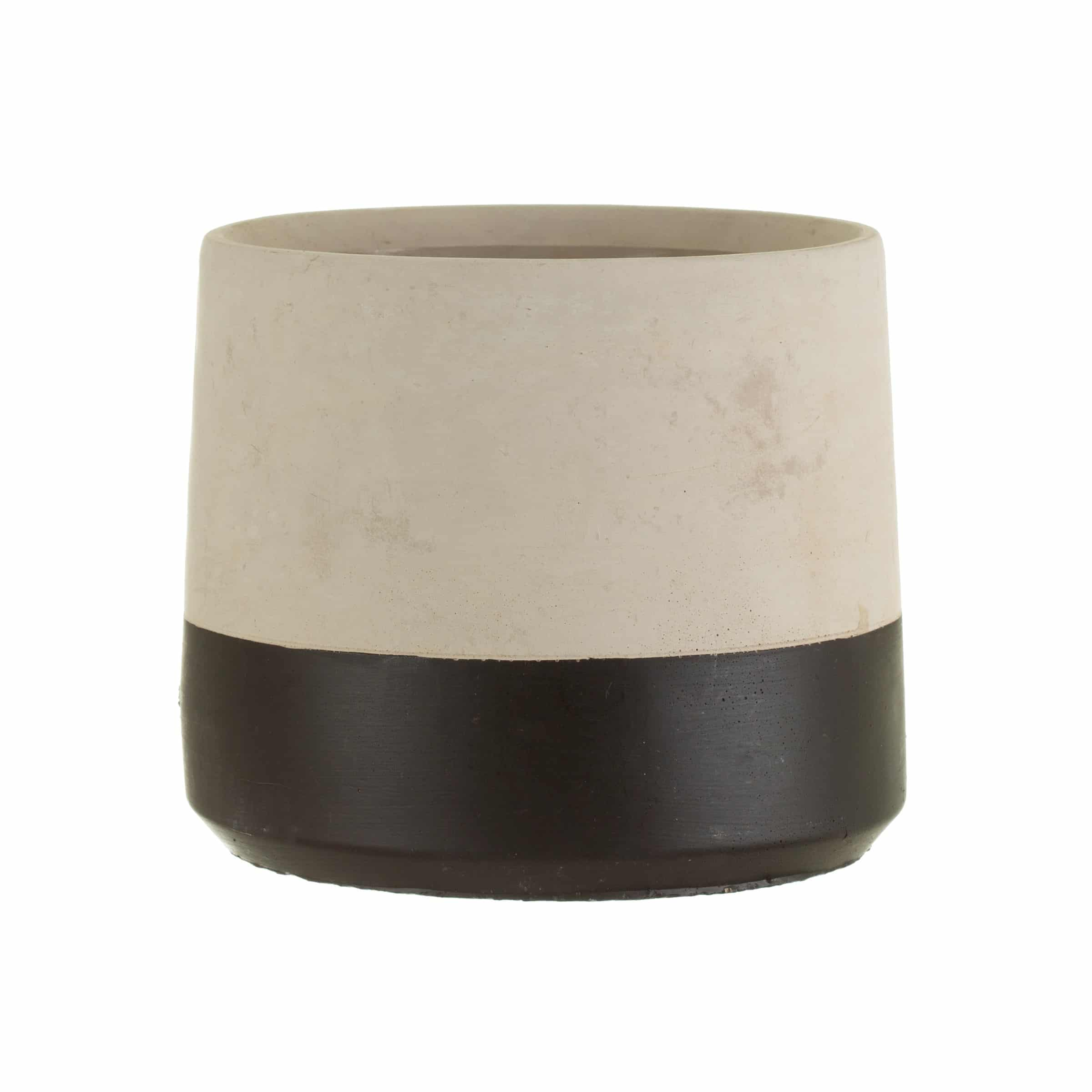 Cement planter with black stripe on white background