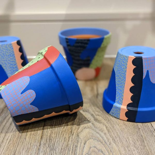 Potty About Pattern Blue Terracotta Pot