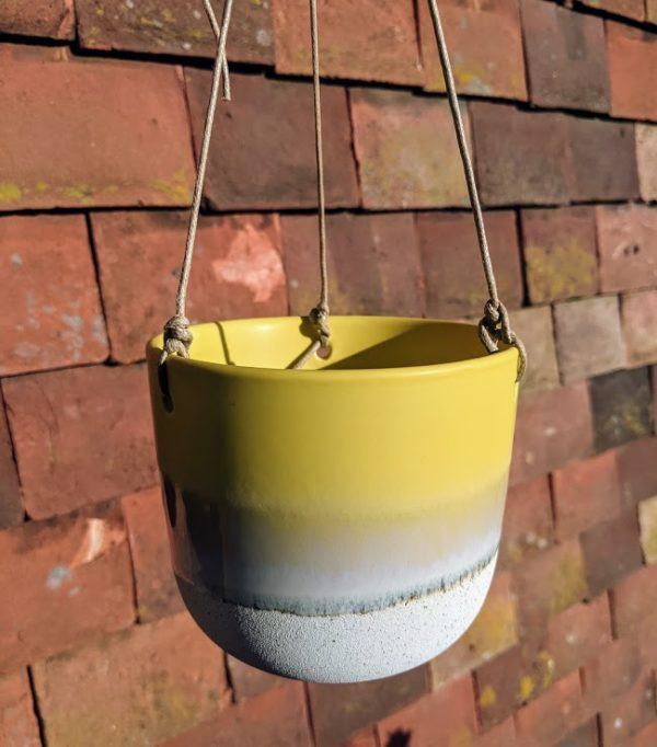 Yellow Stoneware Hanging Planter