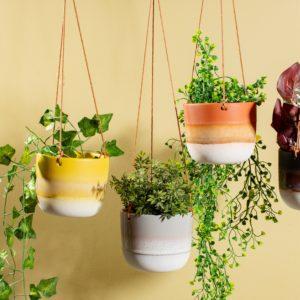 Yellow, Grey & Orange Hanging Plant Pots