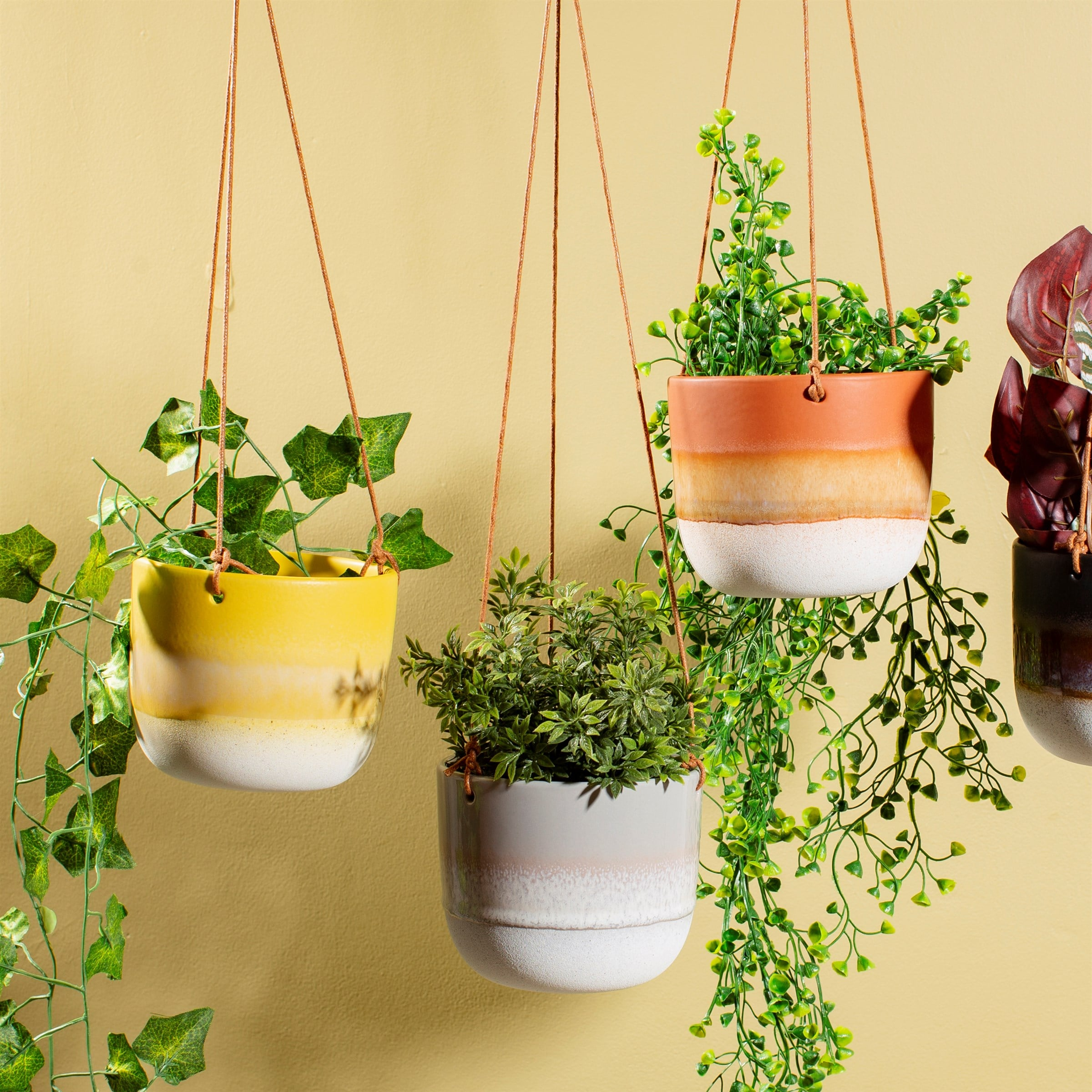 Yellow, Grey & Orange Hanging Plant Pots
