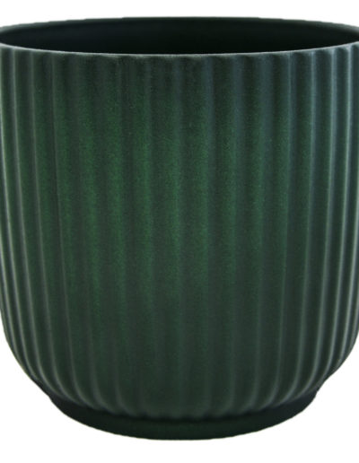 Emerald Grooved Pot on white background