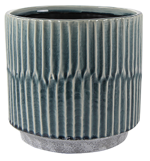Glossy Transitional Teal Planter on white background