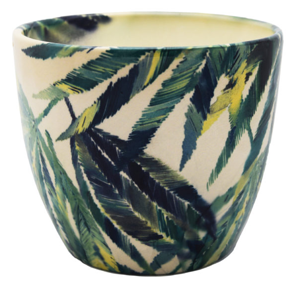 Green Palm Leaf Print Pot on white background