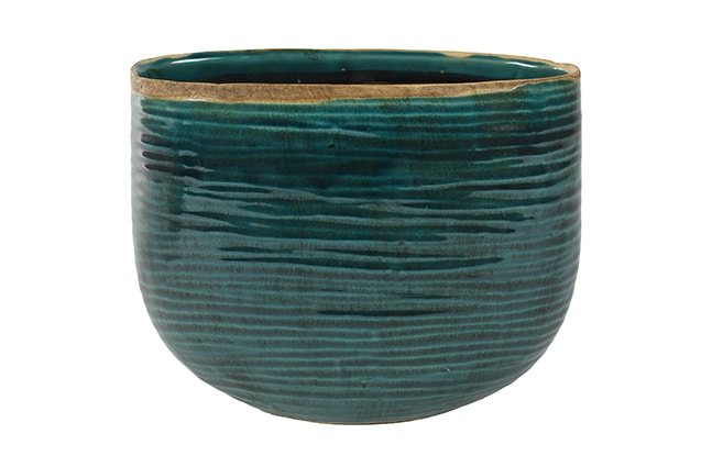 Oval Turquoise Planter on White Background