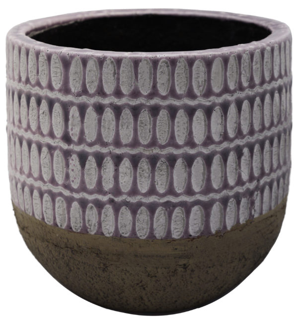 Purple Patterned Cement Planter on White Background