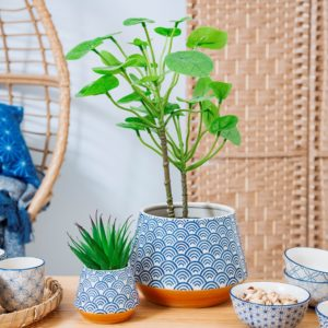 Blue Sea and Waves Japanese Pot