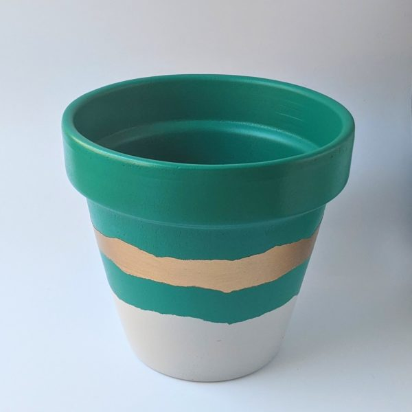Hand Painted Green & Gold Planter