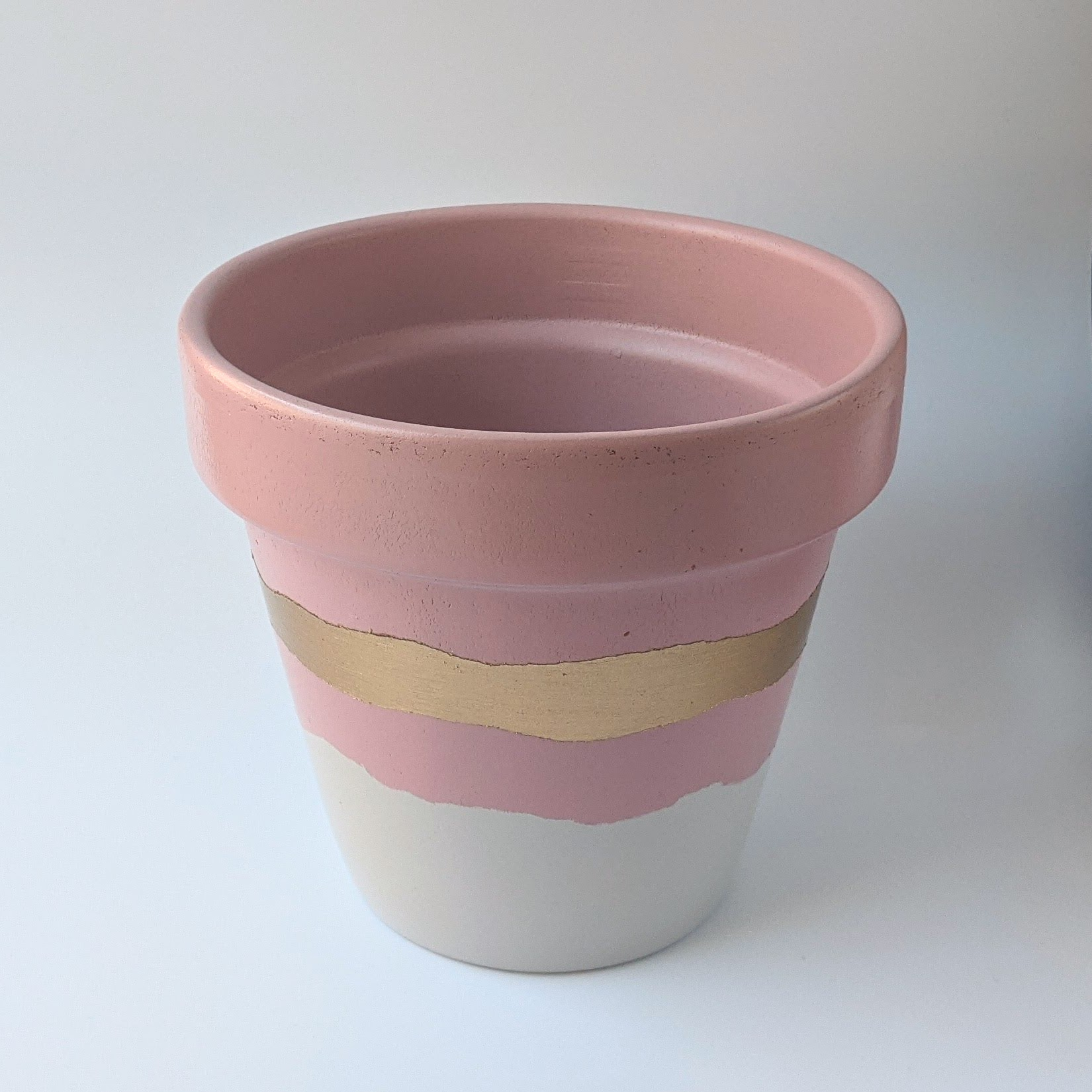 Light Pink & Gold Hand Painted Planter