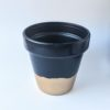 Hand painted navy plant pot
