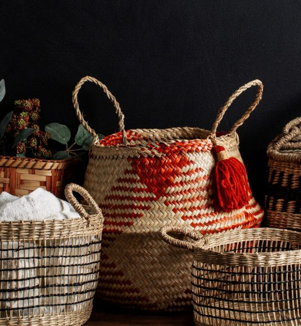 Seagrass Belly Basket Planter Lifestyle