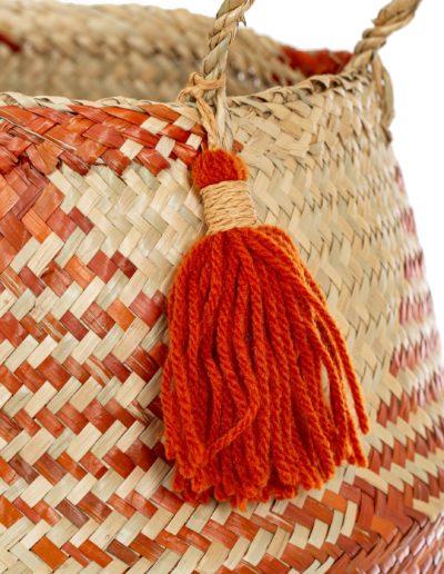 Orange and Beige Seagrass Belly Basket Planter
