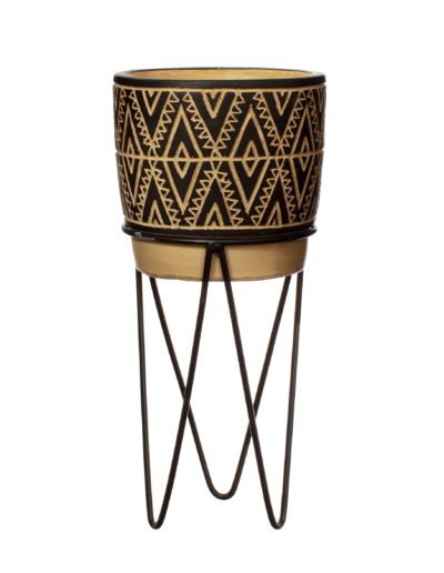 Patterned Plant Pot with Fitted Stand