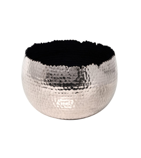 Hammered Iron Silver Plant Pot